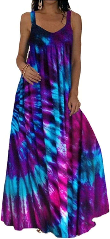 Xiakolaka Plus Size Boho Maxi Dress Bohemian Tie Dye Printed Long Dress Casual Loose Sleeveless Dresses