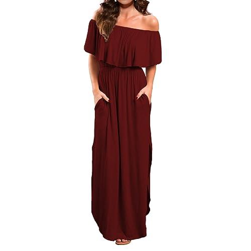 daa0dc00587 VERABENDI Women s Off Shoulder Summer Casual Long Ruffle Beach Maxi Dress  with Pockets