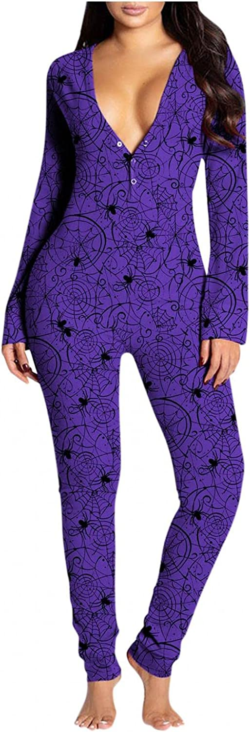 Gibobby Jumpsuit for Women Sleepwear Long Sleeve Halloween Graphic V Neck Button-Down Pajamas Buttoned Flap Casual Rompers