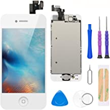 Compatible with iPhone 5 Screen Replacement White 4.0 Inch Full Assembly LCD Display Digitizer with Front Camera, Ear Speaker, Proximity Sensor and Repair Tool Kit