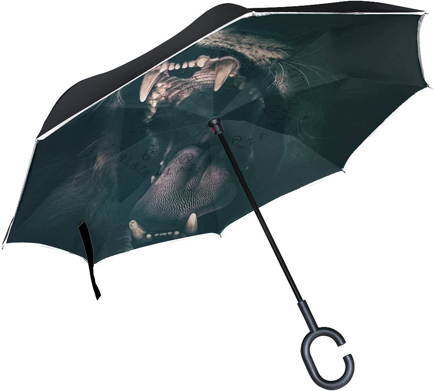 Animal Lion Blackandwhite Ingreened Umbrella Large Double Layer Outdoor Rain Sun Car Reversible Umbrella