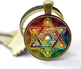 Metatron Cube Keychain,Sacred Geometry Flower of Life Jewelry Spiritual Necklace Women Magic Hexagram