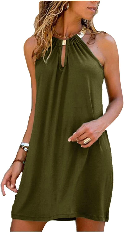 AODONG Summer Dresses for Women,Halter Neck Casual Sleeveless Dresses Open Back Short Mini Dress Sundress Beach Party