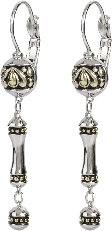 John Medeiros Ladies Two Tone Dangle Drop Earrings Made in America