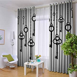 HouseLookHome W85 x L72 Inch Antique Decor Insulated Blackout Grommet Window Curtain Silhouettes of Old Keys Hanging Chain Links Unlocking Secure Home Opener Living Room Curtains for Grommet