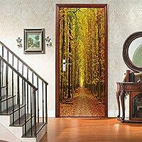 壁紙壁画3Dドア壁紙接着剤インデリアアアア秋葉Diy寝室装飾林道-77X200Cm-95x215cm