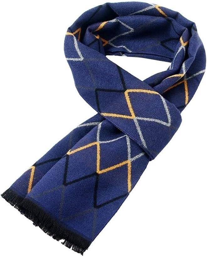 Men Scarf Neck Warmer Scarf Men Winter Soft Warm Scarf Fashion Premium Long Cashmere Feel Scarves Lover Boyfriend Scarf for Men (Color : Blue)