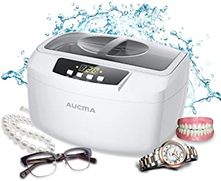 Aucma Ultrasonic Cleaner Professional Industrial 160 Watts 2.5L Heated Ultrasonic Cleaners with Digital Timer for Jewelry Eyeglasses Lenses Necklaces Watches Rings Denture Coins, 2.6Qt/2.5 L (White)