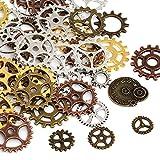Naler 80pcs Gears Wheels Steampunk Pendant Charms, Antique Skeleton Clock Watch Ingranaggi Ruote per l'artigianato fai-da-te Creazione di gioielli Accessori costume cosplay