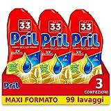 Pril Gold Gel Lavastoviglie Limone Detersivo Gel, 3 Confezioni da 33 Lavaggi...