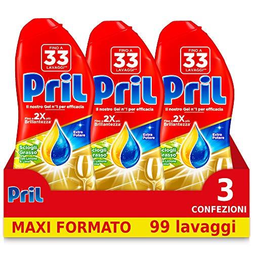Pril Gold Gel, detersivo lavastoviglie in gel, azione Sciogligrasso, con Limone e Lime, 3 Confezioni da 33 Lavaggi (99 lavaggi)
