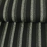 Wollstoff Streifen schwarz grau Winterstoff - Preis Gilt