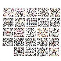 24ピース自己接着ネイルアートステッカーハロウィンテーマ3D漫画ネイルアートデカールDIYネイルデカールマニキュア装飾ツール(1#)