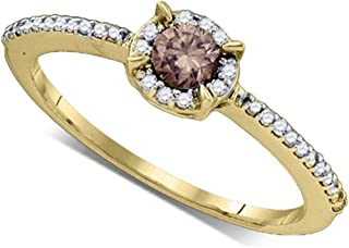 10k Yellow Gold Round Chocolate Brown Diamond Solitaire Bridal Wedding Band Engagement Ring (1/3 Cttw)