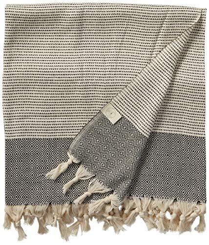 Bersuse Manta 100% algodón Hierápolis XL Toalla turca, 152 x 224 cm, Color Negro