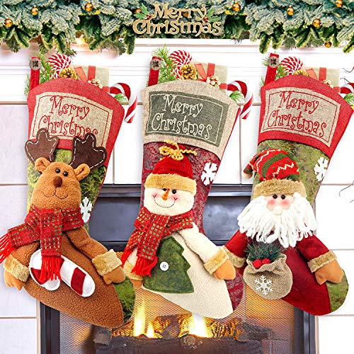 COOLWUFAN Christmas Stockings, 3 Pack 19' Personalized Xmas Stockings with 3D Snowflake Santa, Snowman, Reindeer for Family Holiday Christmas Party Decorations