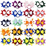 20PCS Cheer Bows for Girls 4.5Inch Grosgrain Ribbon Hair Bows With Ties Elatic Hair Bands Ponytail Holder for Baby Girls Kids Children Teens Cheerleading Girls