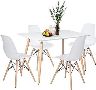 H.J WeDoo Table de Salle à Manger avec 4 chaises, Rectangulaire Table en MDF avec 4 Chaises Scandinave pour Mmaison, Burea...