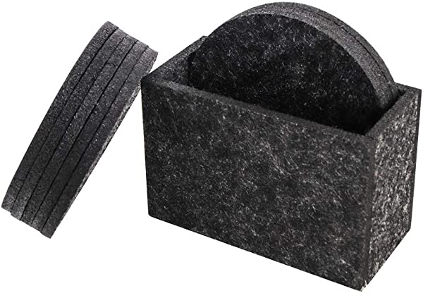 Coasters For Drinks Set Of 8 Absorbent Felt Coasters With Holder Drinks Round Coaster Protects Your Table And Desk Charcoal Modern Design 3 9 Inch