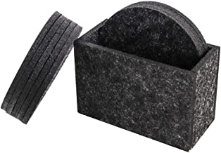 Coasters For Drinks Set of 8 Absorbent Felt Coasters with Holder Drinks Round Coaster Protects Your Table and Desk, Charcoal Modern Design, 3.9 Inch