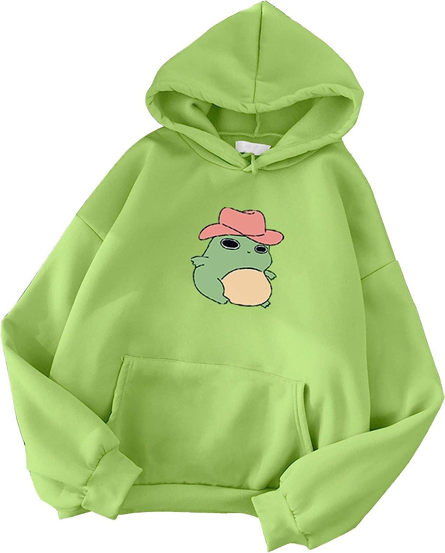 Hotkey Hoodies for Women, Women's Fashion Drawstring Sweatshirts Cartoon Frog Printed Hooded Active Pullover Tops