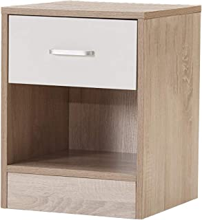 GIME End Tables, NightStand with Drawer Cabinet for Bedroom Bedside Table Furniture(Yellow&White)