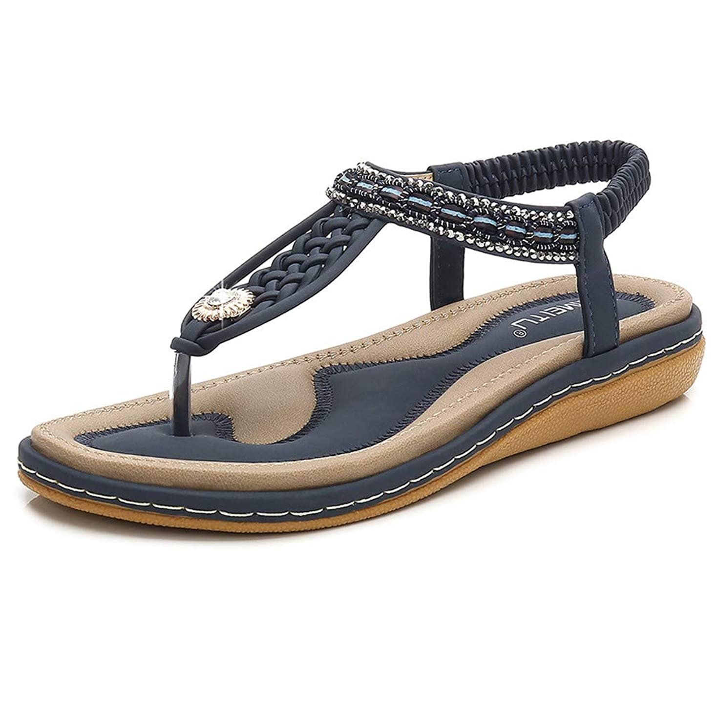 Aunimeifly Women's Soft Comfortable Sandals Ladies T-Strap Crystal Clip Toe Woven Ankle Elastic Flat Roman Shoes
