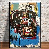 キャンバス塗装 ジャンミシェル絵画落書き現代アーティストポスタープリント壁アート抽象的な画像リビングルーム家の装飾Cuadros 50*75cm