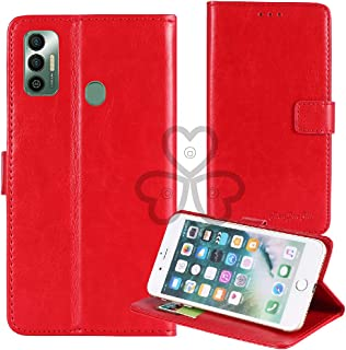TienJueShi Red Book Stand Retro Flip Leather Protector Phone TPU Silicone Case For Tecno Spark 7 6.5 inch Gel Cover Etui W...