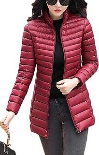 maweisong レディースジップパーカーキルティング冬ピュアカラーダウンジャケットコート
