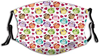 BYJHMB Cool Doodle Drawing Style Cartoon Owls with Various Facial Expressions Funny Pattern Cotton Washable Nose Wired Face Cover Filter Pocket Wide Cover with Filter