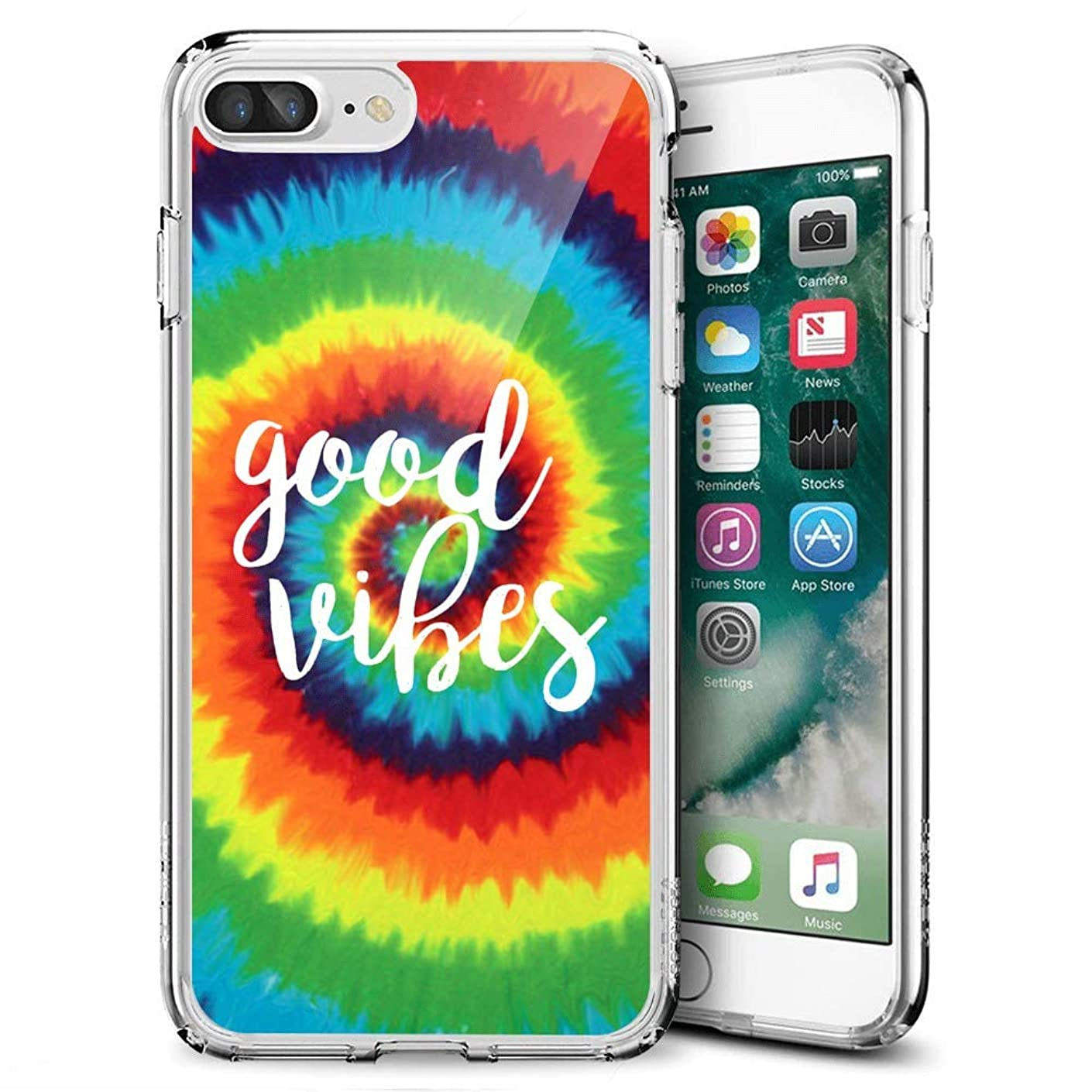 cosdesign Clear iPhone 7 8 Plus Case Tie-Dyed Ultra Thin Slim Shockproof Women Protective Cover Case for iPhone 7 8 Plus