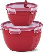 Emsa CLIP MICRO set van 2 rond 1,1 + 2,6 L rood N1060700, 127