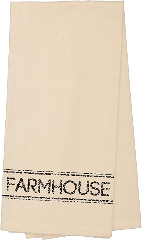 VHC Brands Farmhouse Housewarming Tabletop Sawyer Mill Fabric Loop Cotton Stenciled Muslin Text Kitchen Towel Antique Creme White