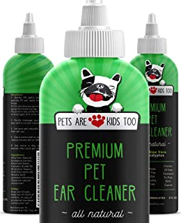 Premium Pet Ear Cleaner Solution - Safe & Natural Dog and Cat Ear Infection and Mite Treatment Made with Eucalyptus and Aloe Vera - No Steroids or Chemicals, for Sensitive Pets - Vet Formulated