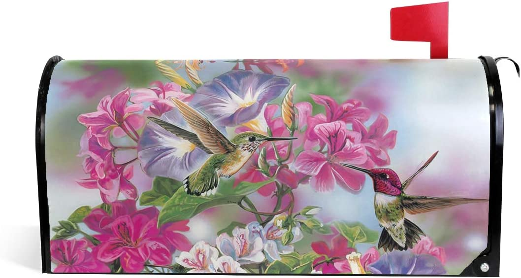 ALAZA WOOR Spring Hummingbird and Excellent Mailbox Award Cover Magnetic Flowers
