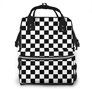 Black White Checkered Multi-Function Travel Backpack Nappy Bag,Fashion Mummy Bag