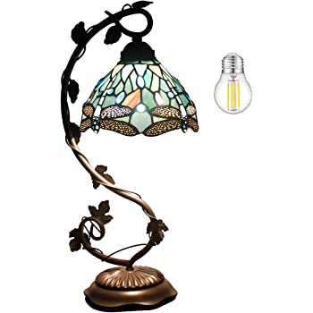 Tiffany Lamp Stained Glass Table Desk Reading Light Crystal Bead Sea Blue Dragonfly Style Shade W8H22 Inch S147 WERFACTORY LAMPS Lover Living Room Bedroom Study Bookcase Dresser Coffee Bar Craft Gifts