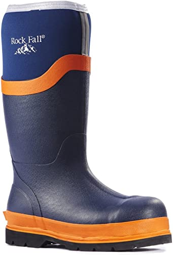 Rock Fall rf290Limo Neopreno Seguridad Wellington botas, Color azul Marino, tamaño 6