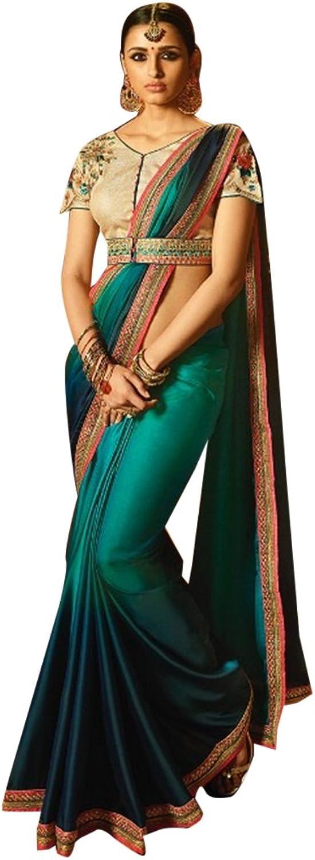 Designer Collection Stylsih Royal Silk Saree Blouse Indian Wedding Sari Women Muslim Eid 2814