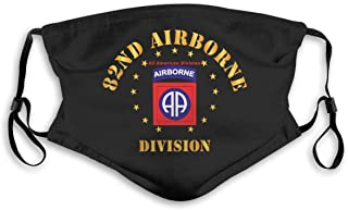 82nd Airborne Division Army Bandanas for Men Face Scarf Neck Gaiter Pm2.5 with Filters S Black