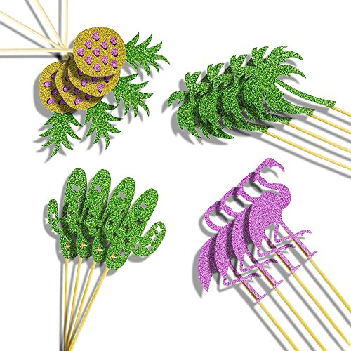 Flamingo Pineapple Coconut Palm shape Glitter cupcake toppers 60pcs - party cake picks for Hawaii Luau Party Birthday Wedding Beach Party Cake Decorations