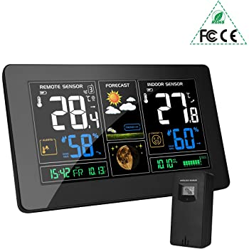 MOHOO Station Météo Thermomètre Hygromètre Numériques Intérieure/Extérieure avec Capteur sans Fil 9-IN-1 avec Capteur LCD Écran Horloge Numérique Affichage de l'heure argenté pour le bureau à domicile