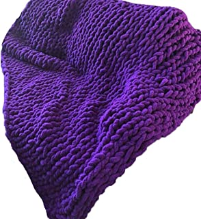 Chunky Knit Blanket Chenille Throw Purple Super Bulky Crocheted Throw Home Décor Blanket Wedding Shower Gift,79x79in