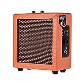 ammoon Mini Amplificateur pour Guitar Ukulele Bass Alimenté par Batterie Haute Sensibilité 3 Watt 9-Volt avec Volume Tone Control Orange