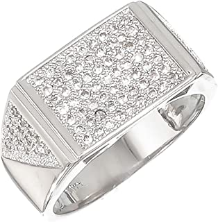 Solid Rhodium Plated Ring Iced Out with Real Micro Pave...