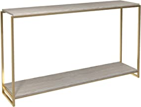 GillmoreSPACE Narrow Console Table - Weathered Oak Shelves With Brass Frame