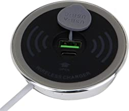 SEDNA - 2 3/8 Inch (60mm) Grommet Hole in Desk QI Wireless Charger with 1 Type C and 1 Type A USB Charging Port (Compatible with iPhone 8/8 Plus and/iPhone X), with AC/DC Adapter
