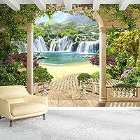 Clhhsy カスタム3D写真壁紙ガーデンバルコニー滝風景3Dスペース壁画寝室リビングルームソファ装飾-400X280Cm