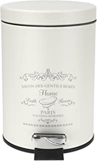 Home Basics Paris Collection Bathroom Accessories, Office, Bedroom, Decorative Waste Basket With Stylish Accent Decor To Complement Any Bathroom (3 Liter Waste Bin)